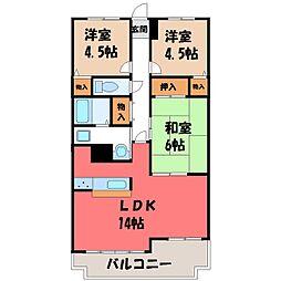 栃木県宇都宮市不動前4丁目の賃貸マンションの間取り