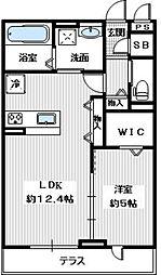 ラヴィベールメゾン 1階1LDKの間取り