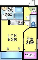 仮称 江東橋2丁目メゾン 3階1LDKの間取り