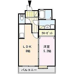 福岡県久留米市東町の賃貸マンションの間取り