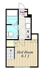 小田急小田原線 町田駅 徒歩15分の賃貸アパート 1階1Kの間取り