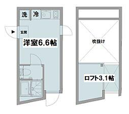 京王井の頭線 久我山駅 徒歩9分の賃貸テラスハウス 2階ワンルームの間取り
