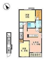 愛知県名古屋市名東区西里町3丁目の賃貸アパートの間取り