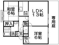 カルチェ東香里II[1階]の間取り