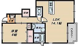 大阪府和泉市池田下町の賃貸アパートの間取り