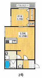 JR阪和線 堺市駅 徒歩8分の賃貸アパート 2階1LDKの間取り