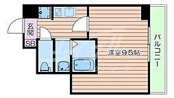 Osaka Metro御堂筋線 なんば駅 徒歩9分の賃貸マンション 10階1Kの間取り