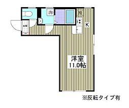 都営三田線 本蓮沼駅 徒歩13分の賃貸マンション 3階ワンルームの間取り