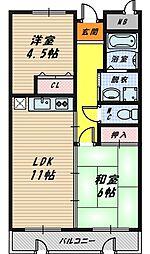 大阪府大阪市城東区今福西6丁目の賃貸マンションの間取り