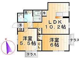 東京都足立区堀之内2丁目の賃貸アパートの間取り