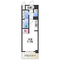 Osaka Metro千日前線 今里駅 徒歩5分の賃貸マンション 11階ワンルームの間取り