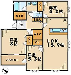 東京都稲城市平尾1丁目の賃貸マンションの間取り