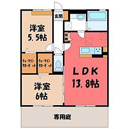 (仮)D-room野木町友沼 B 1階2LDKの間取り