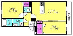シャーメゾン粟津[3階]の間取り