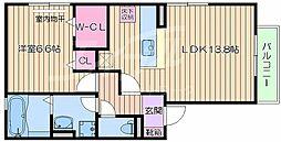 阪急千里線 千里山駅 徒歩9分の賃貸アパート 2階1LDKの間取り