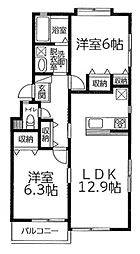 メルベージュ浦安 2階2LDKの間取り
