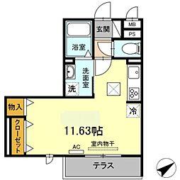 愛知環状鉄道 北岡崎駅 徒歩27分の賃貸アパート 1階ワンルームの間取り