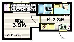 フォレストコート渋谷 3階1Kの間取り