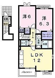 JR川越線 南古谷駅 徒歩7分の賃貸アパート 2階2LDKの間取り
