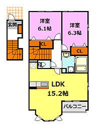 茨城県筑西市下中山の賃貸アパートの間取り
