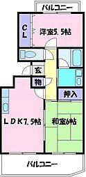 ピアコート弐番館[1階]の間取り
