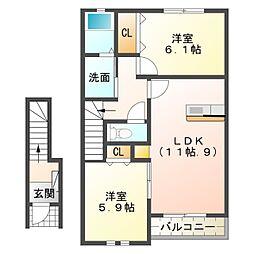 愛知県岡崎市寿町の賃貸アパートの間取り