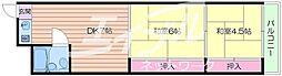大阪府大阪市浪速区恵美須東3丁目の賃貸マンションの間取り