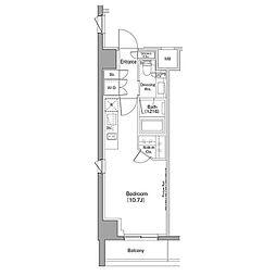 ザ・パークハビオ恵比寿プレイス 2階ワンルームの間取り