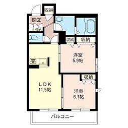 アンビシア 3階2LDKの間取り