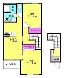 仮)本町新築アパート[205号室]の間取り