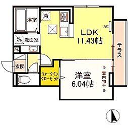 京王相模原線 若葉台駅 徒歩20分の賃貸アパート 3階1LDKの間取り