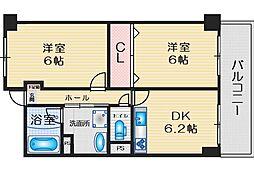 緑地JIROII 11階2DKの間取り