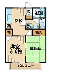 多摩都市モノレール 多摩センター駅 徒歩22分の賃貸アパート 2階2DKの間取り