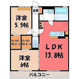(仮)D-room野木町友沼 B 2階2LDKの間取り