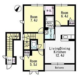 リヴィエールコート[2階]の間取り