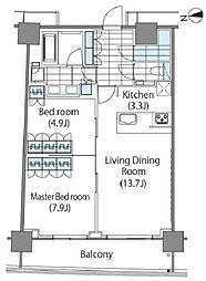 コンフォリア新宿イーストサイドタワー タワー棟 3階2LDKの間取り