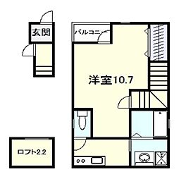 Cosy北花田 2階ワンルームの間取り