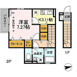 JR総武線 新小岩駅 徒歩3分の賃貸アパート 2階1Kの間取り
