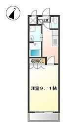 愛知県みよし市三好町八和田の賃貸アパートの間取り