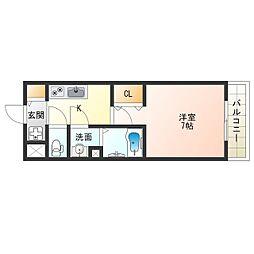 阪神なんば線 九条駅 徒歩8分の賃貸マンション 10階1Kの間取り