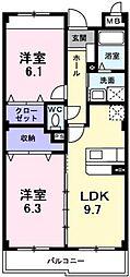 南海高野線 萩原天神駅 徒歩4分の賃貸マンション 1階2LDKの間取り