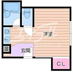 阪急千里線 関大前駅 徒歩3分の賃貸マンション 3階ワンルームの間取り
