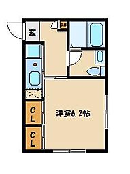パルゼ武蔵浦和 2階1Kの間取り