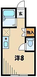 東武東上線 川越市駅 徒歩6分の賃貸アパート 1階ワンルームの間取り