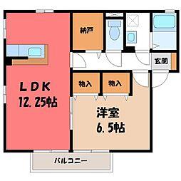 栃木県小山市犬塚4丁目の賃貸アパートの間取り