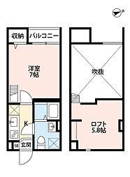 南海線 住ノ江駅 徒歩7分の賃貸アパート 2階1Kの間取り