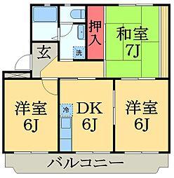 千葉県千葉市中央区生実町の賃貸マンションの間取り