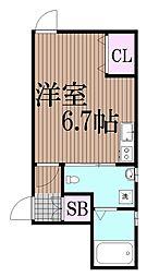 東京都品川区中延4丁目の賃貸アパートの間取り