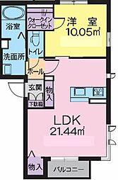 エターナル赤木 1階1LDKの間取り