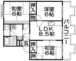 タウニ—モイスンD棟[1階]の間取り